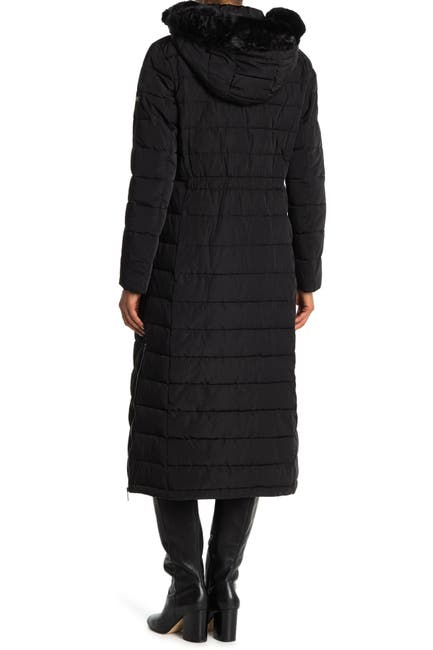 Image of Donna Karan Faux Fur Hooded Down Coat
