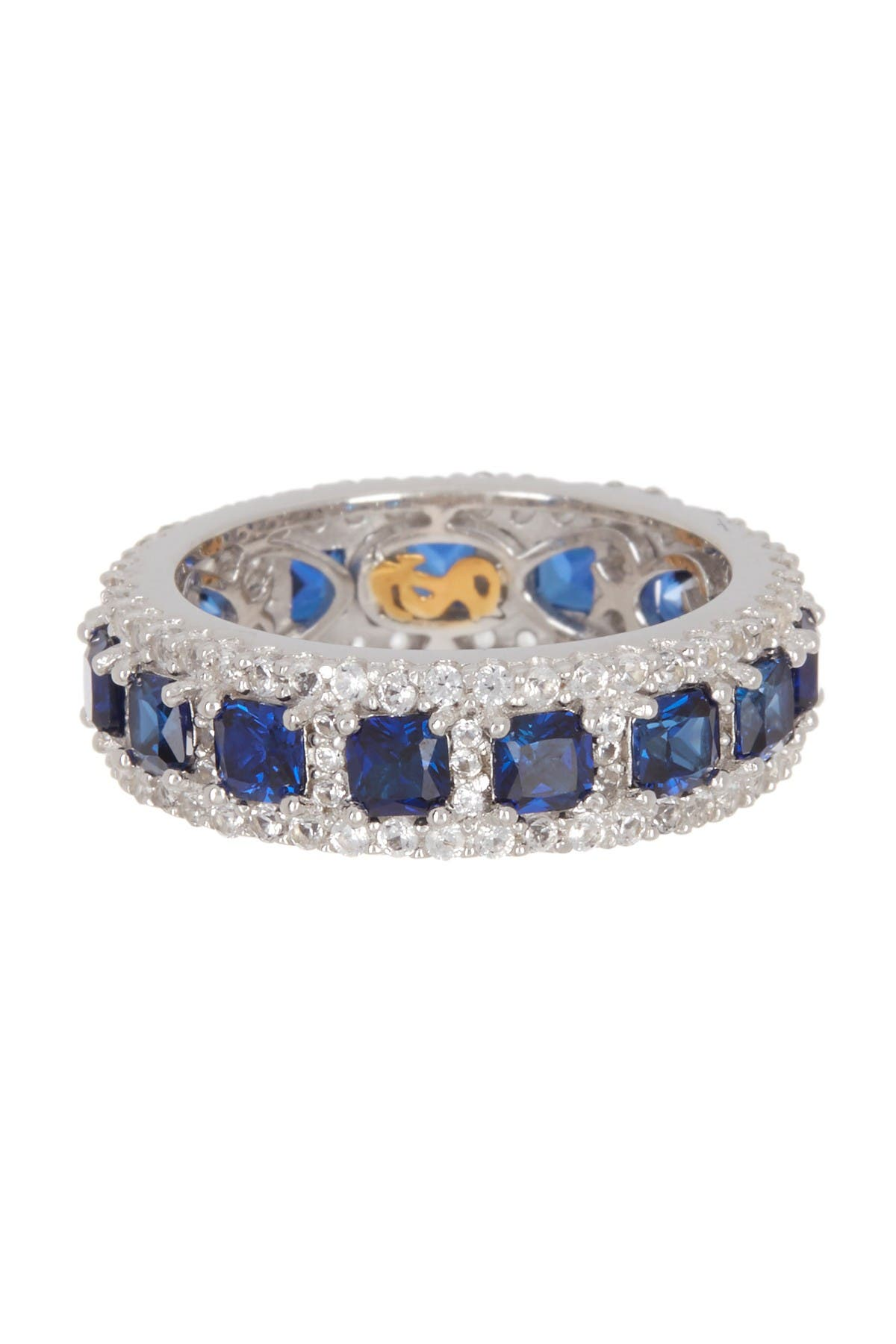 Image of Suzy Levian Sterling Silver Square Sapphire Diamond Accent Band - 0.02 ctw
