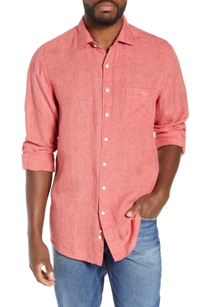 RODD & GUNN Selwyn Huts Regular Fit Shirt, Main, color, WATERMELON