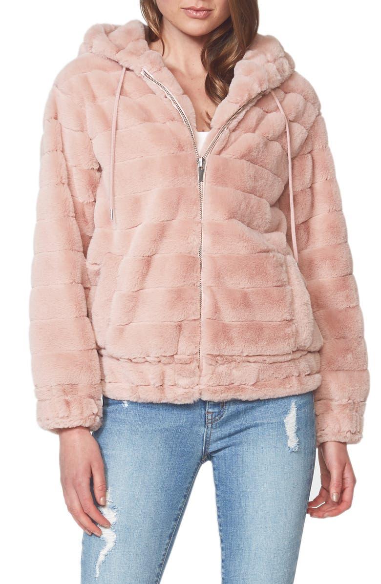 BARDOT Hooded Faux Fur Jacket, Main, color, BLUSH