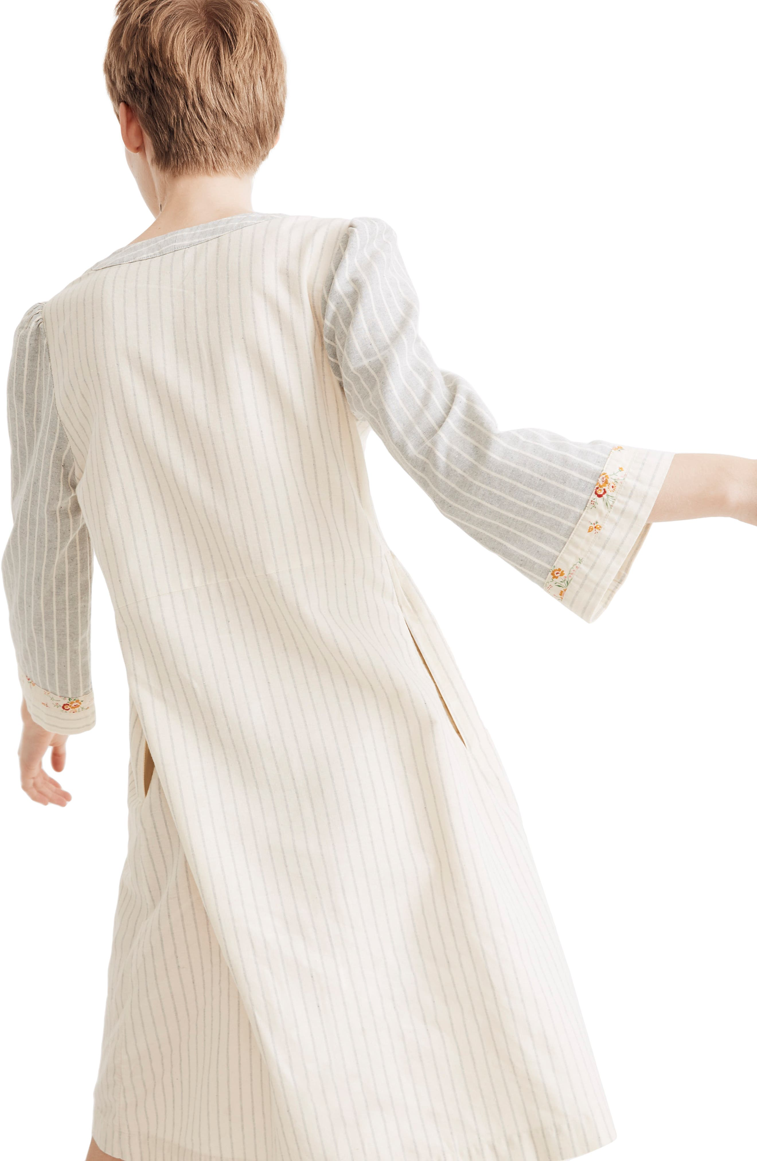 ,                             x The New Denim Project<sup>®</sup> Stripe Mix Long Sleeve Dress,                             Alternate thumbnail 2, color,                             WHITE SKINNY STRIPE