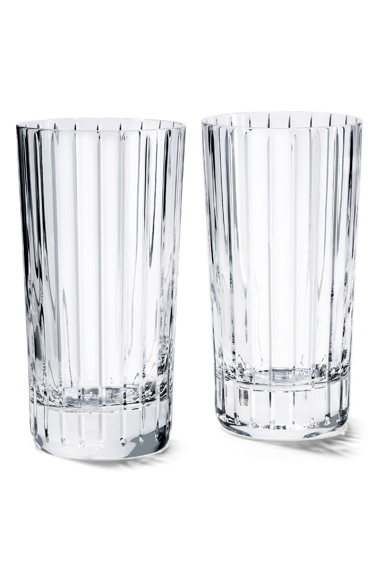 BACCARAT Harmonie Set of 2 Lead Crystal Highball Glasses, Main, color, CLEAR