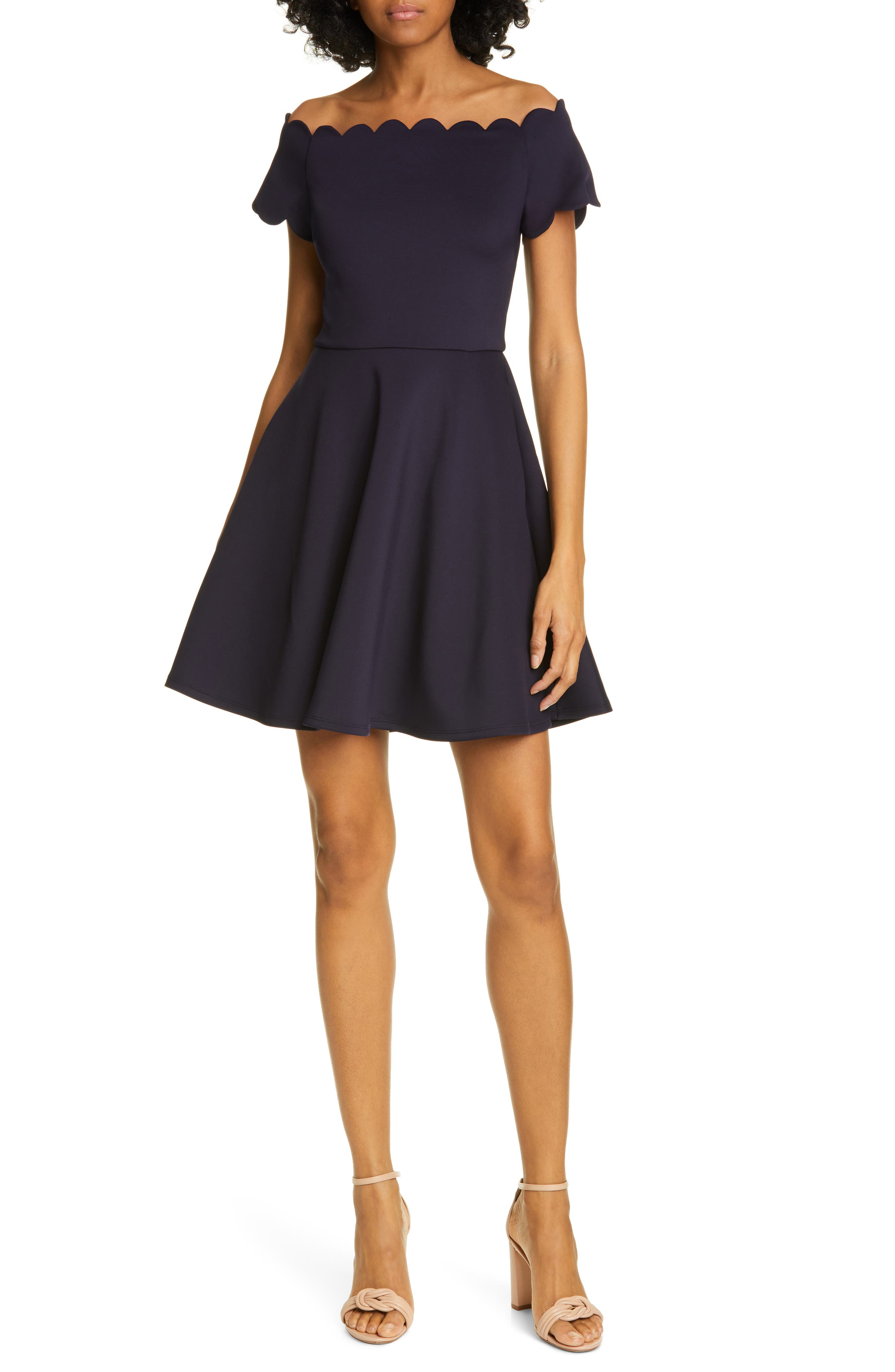 Ted Baker London Fellama Scallop Detail Skater Dress, Blue