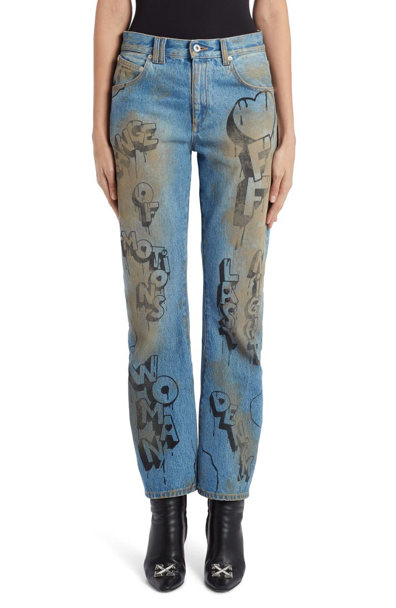 OFF-WHITE Graffiti Baggy Wide Leg Jeans, Main, color, BLEACH BLACK