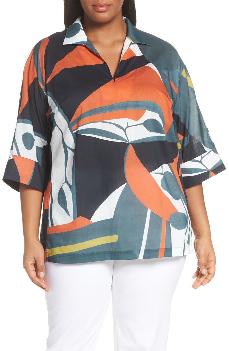 LAFAYETTE 148 NEW YORK Nicole Artisan Abstract Print Top, Main, color, 300