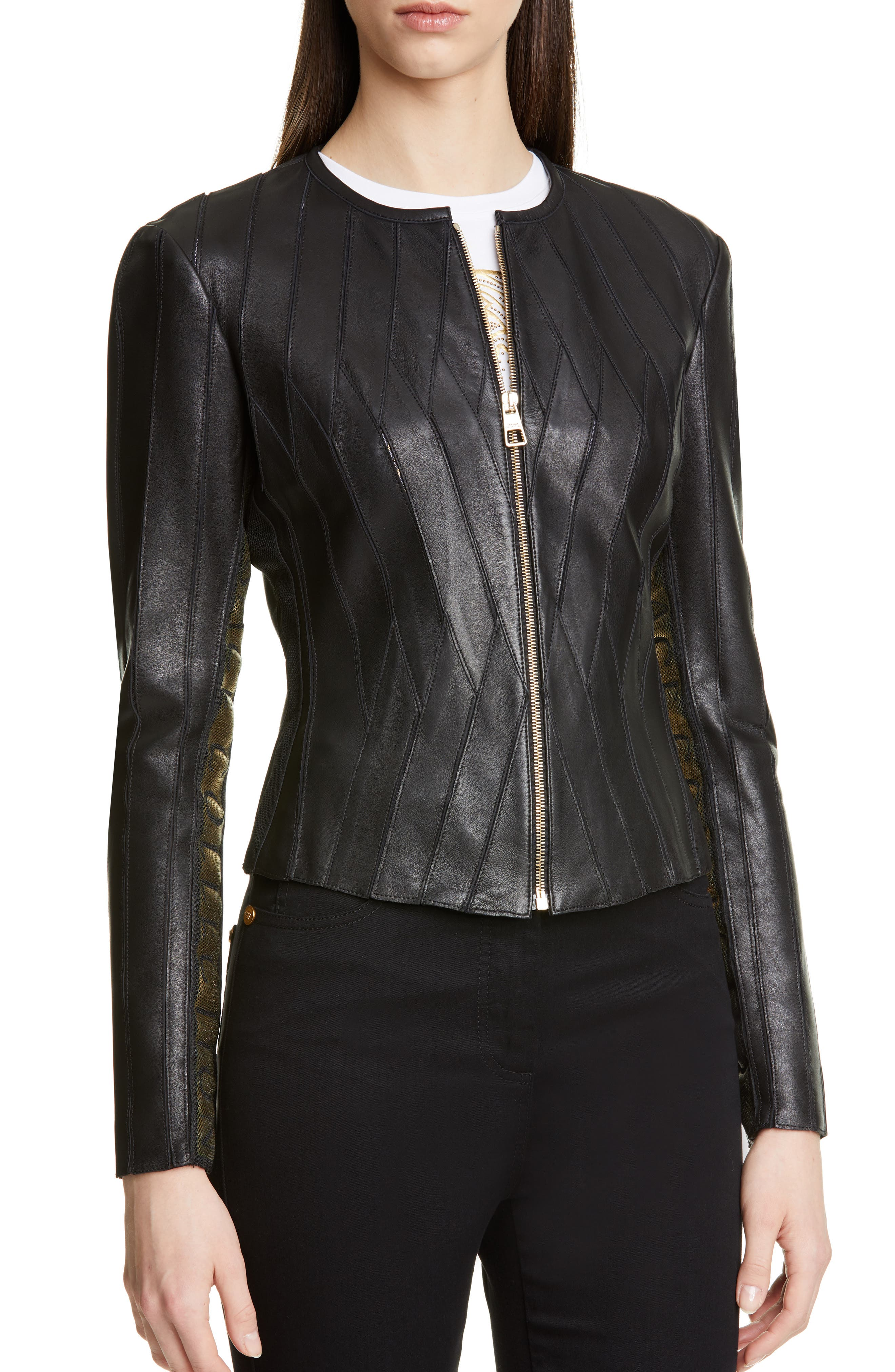 ,                             Logo Leather Jacket,                             Alternate thumbnail 4, color,                             BLACK