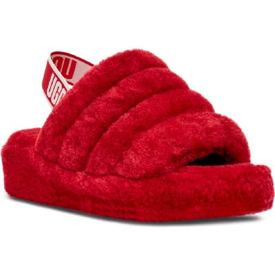 UGG Fluff Yeah Genuine Shearling Slide, Red