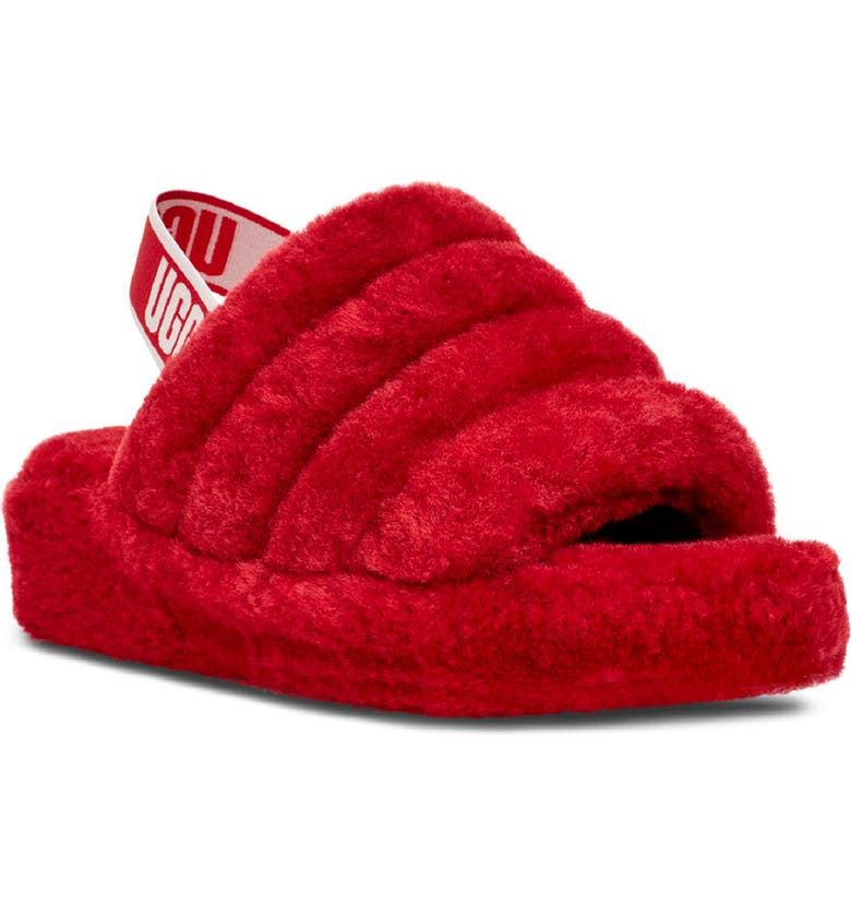UGG<SUP>®</SUP> Fluff Yeah Genuine Shearling Slide, Main, color, RIBBON RED