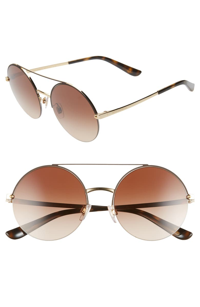 DOLCE&GABBANA 54mm Gradient Round Sunglasses, Main, color, GOLD/ BROWN GRADIENT