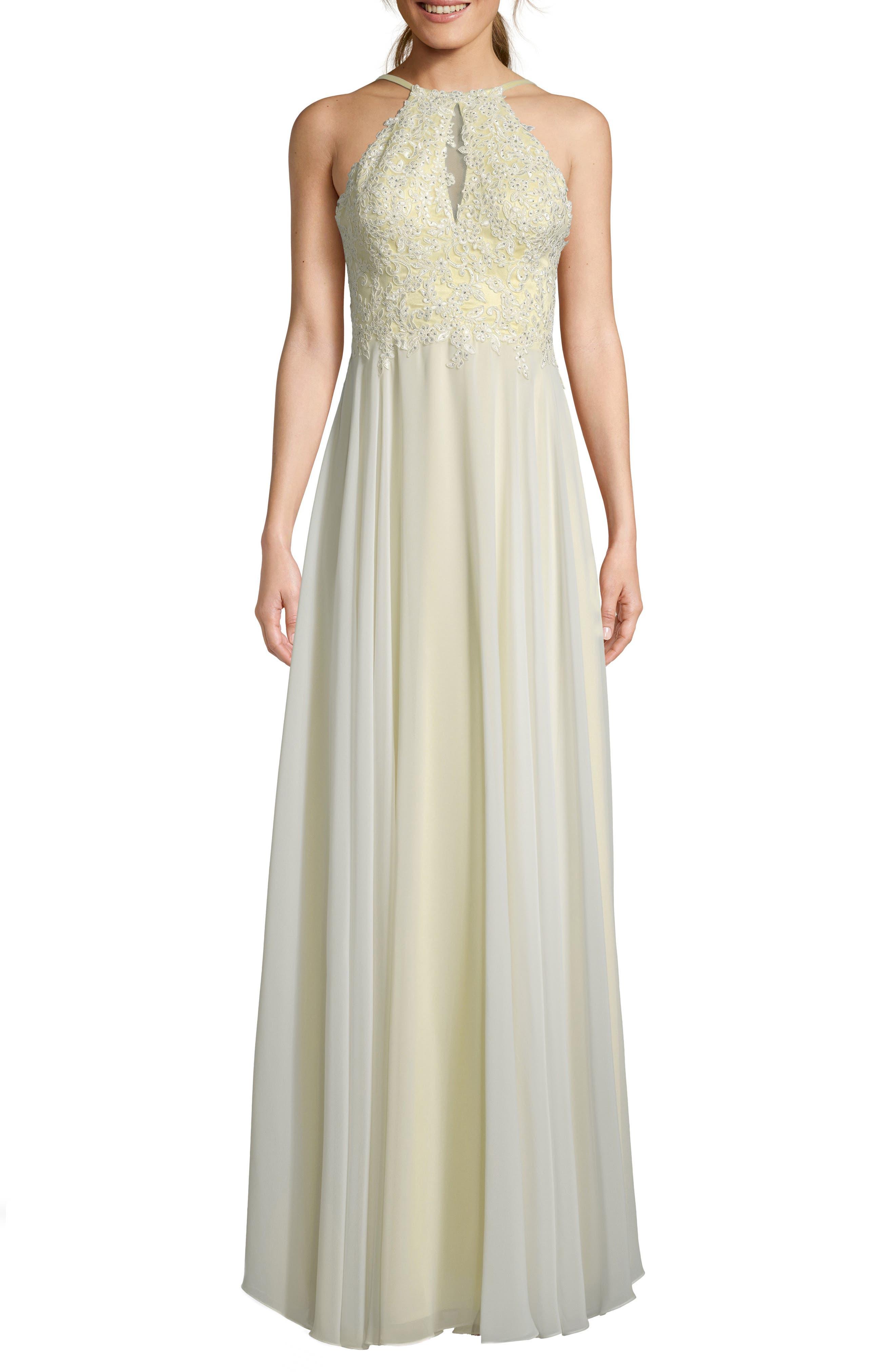 b6098bfe9f0b Xscape Beaded 3D Floral Lace Chiffon Evening Dress, Yellow