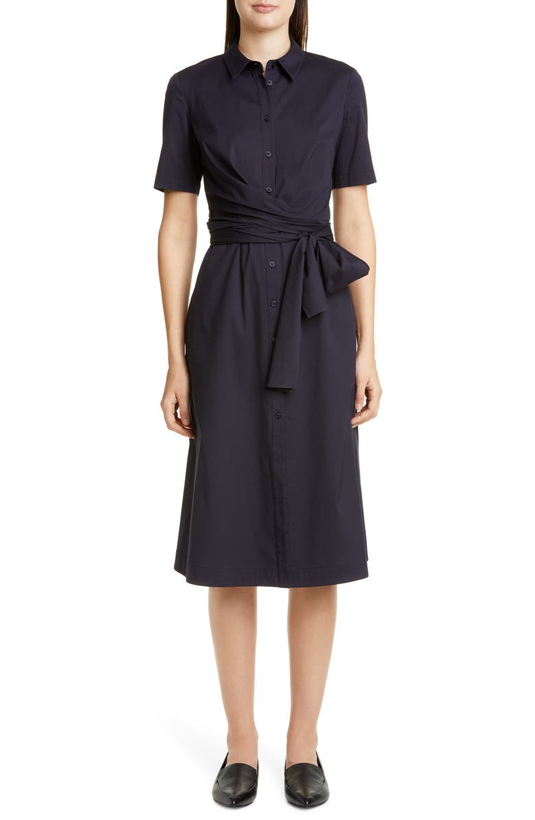 LAFAYETTE 148 NEW YORK Wrenley Tie Front Shirtdress, Main, color, INK
