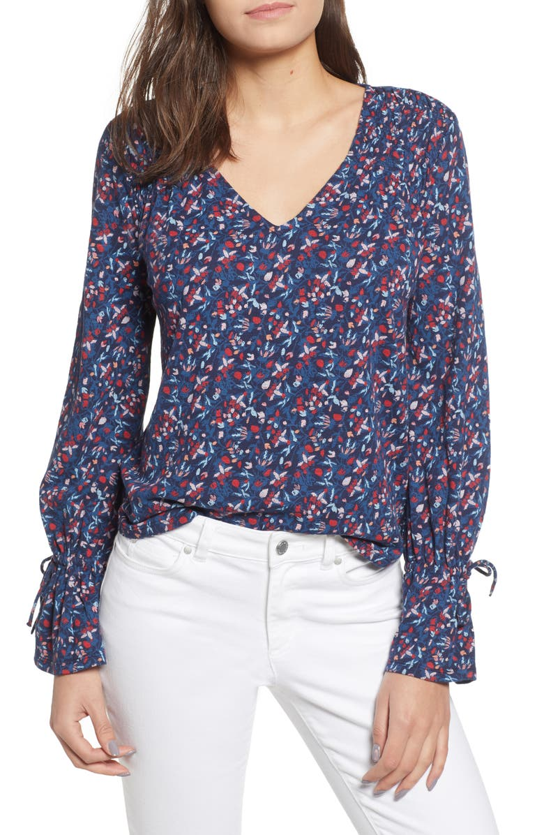 LUCKY BRAND Tie Sleeve Blouse, Main, color, 460