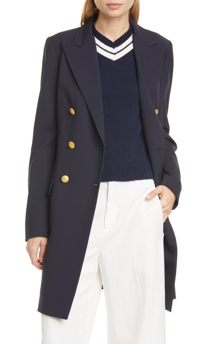 POLO RALPH LAUREN Long Double Breasted Blazer, Main, color, COLLECTION NAVY
