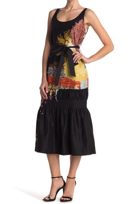 Image of DRIES VAN NOTEN Silk Drop Waist Printed Midi Dress