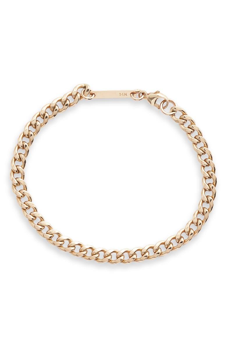 ZOË CHICCO Medium Curb Chain Bracelet, Main, color, 710