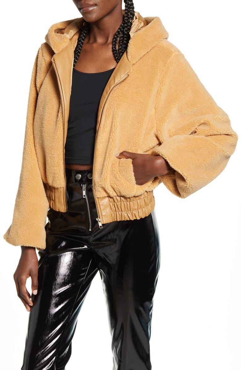 I.AM.GIA 717 Hooded Teddy Fleece Jacket, Main, color, TAN