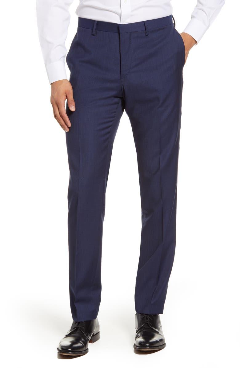 TIGER OF SWEDEN Flat Front Plaid Wool Dress Pants, Main, color, LIGHT INK