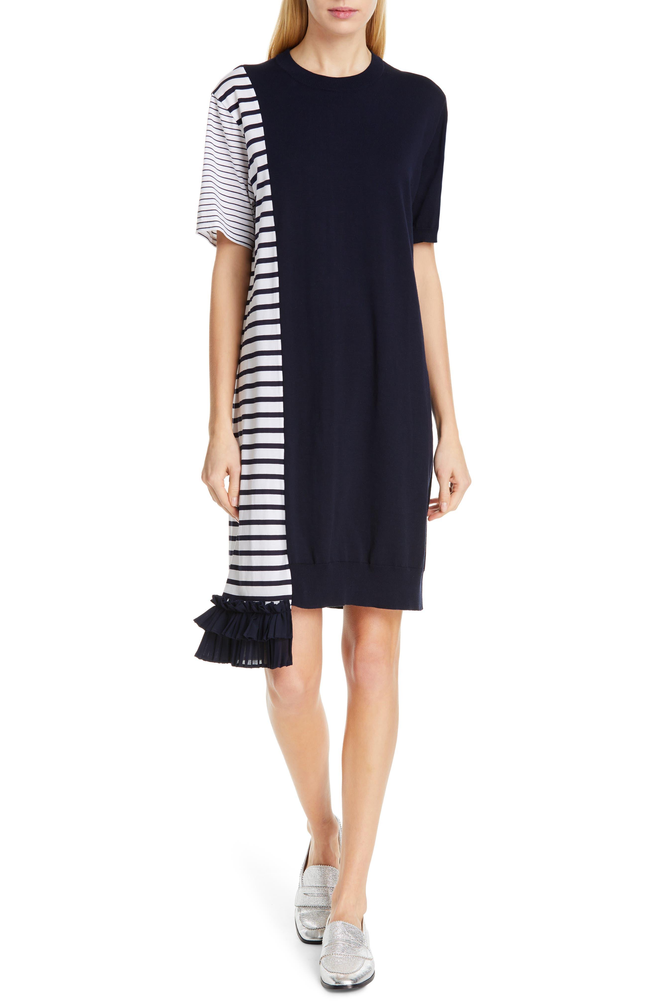 Clu Asymmetrical Ruffle Hem Dress, Blue