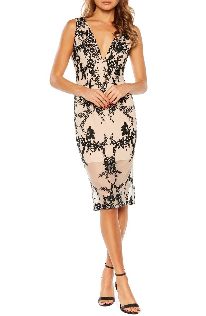 BARDOT Embroidered Body-Con Dress, Main, color, BLACK