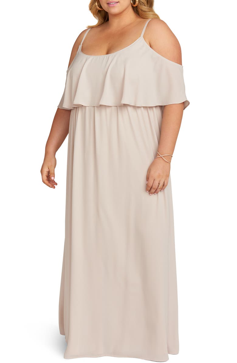 SHOW ME YOUR MUMU Caitlin Ruffle Cold Shoulder Evening Dress, Main, color, SHOW ME THE RING