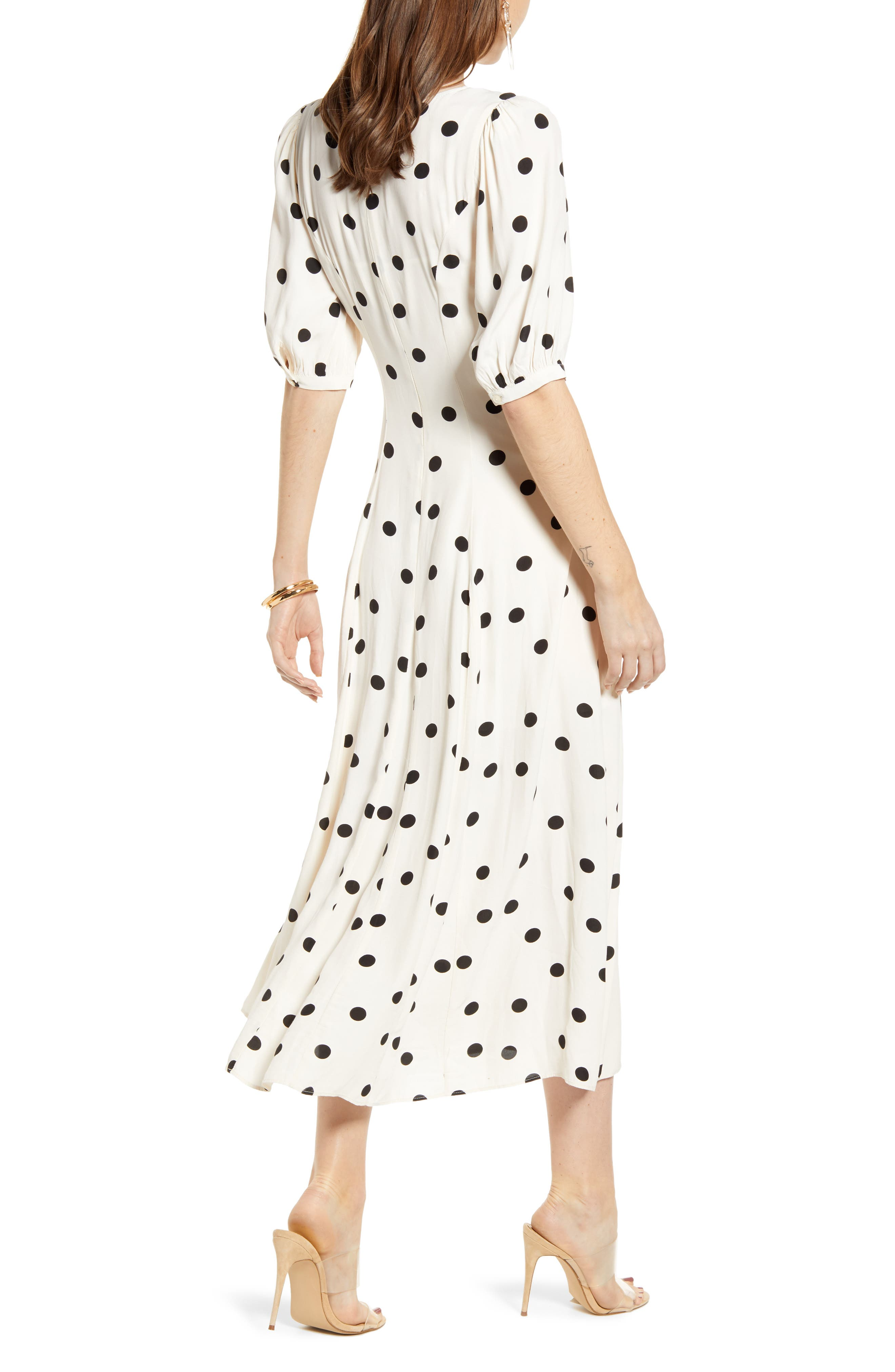 ,                             Print Dress,                             Alternate thumbnail 4, color,                             BEIGE ECRU DOT