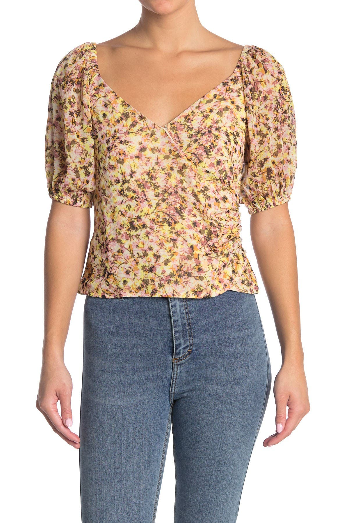 Image of Lush Printed Surplice Faux Wrap Top