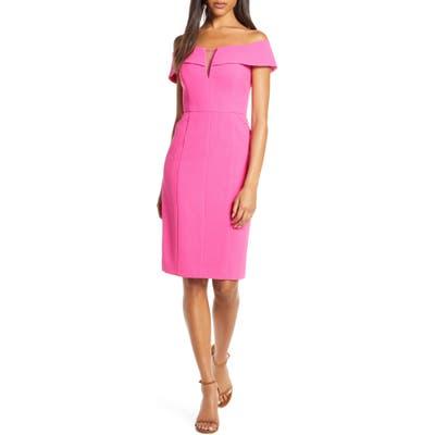 Vince Camuto Off The Shoulder Crepe Sheath Dress, Pink
