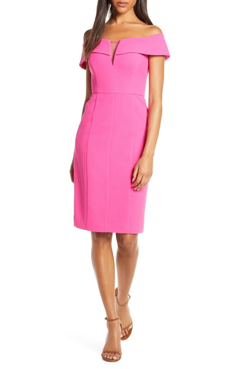 VINCE CAMUTO Off the Shoulder Crepe Sheath Dress, Main, color, HOT PINK