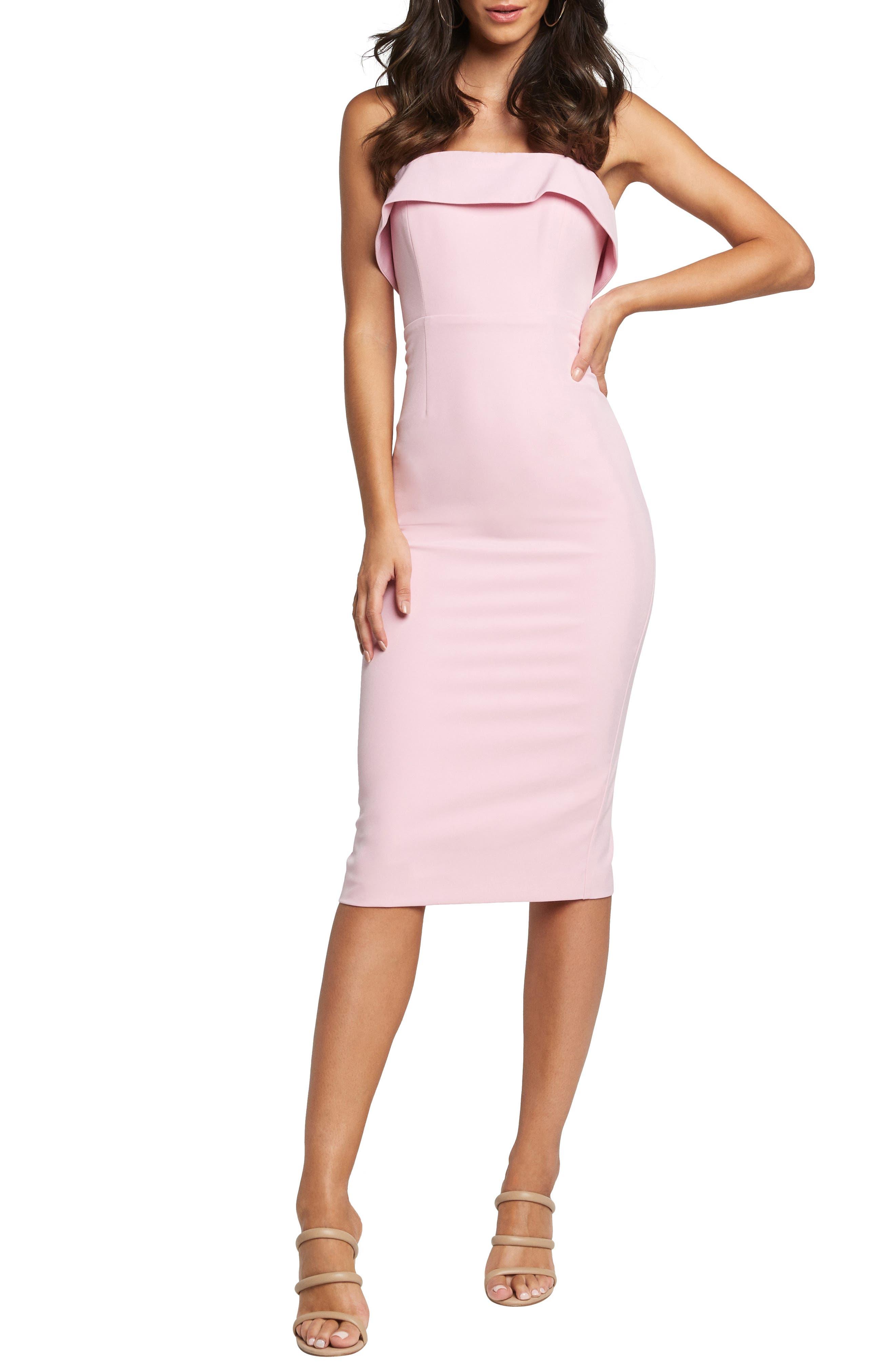 Bardot Georgia Strapless Dress, Pink