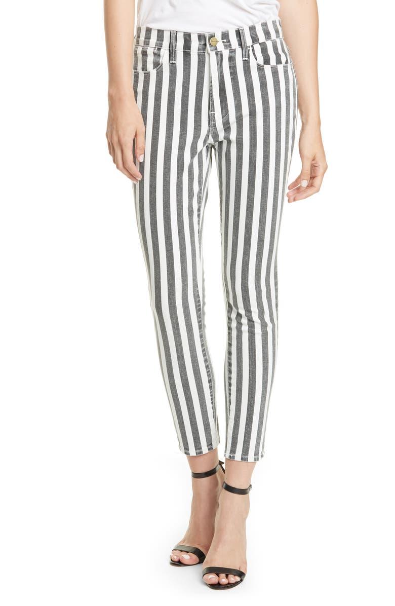FRAME Le High Skinny Crop Jeans, Main, color, NOIR MULTI
