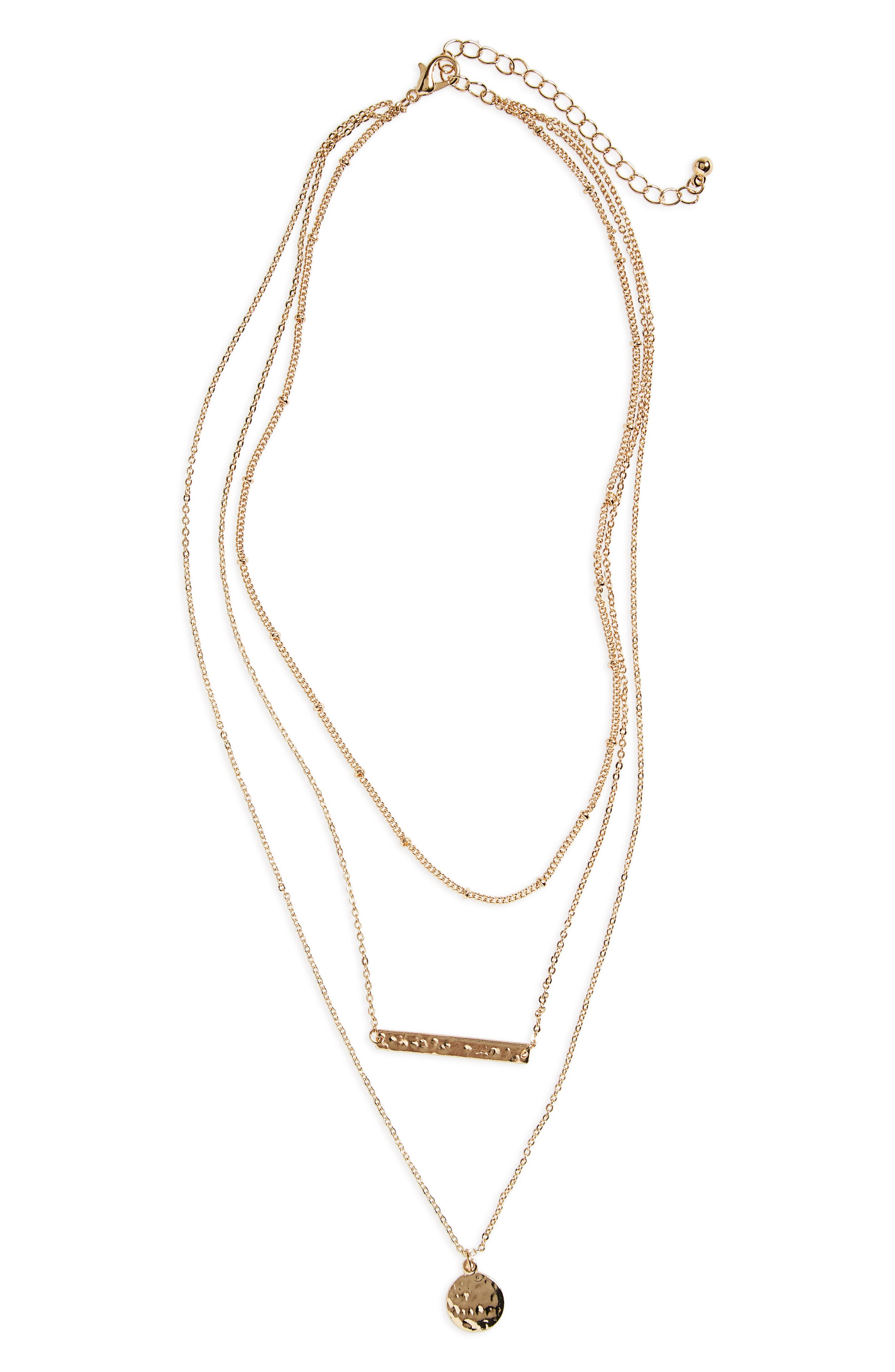 Plate & Disc Layered Necklace, Main, color, GOLD
