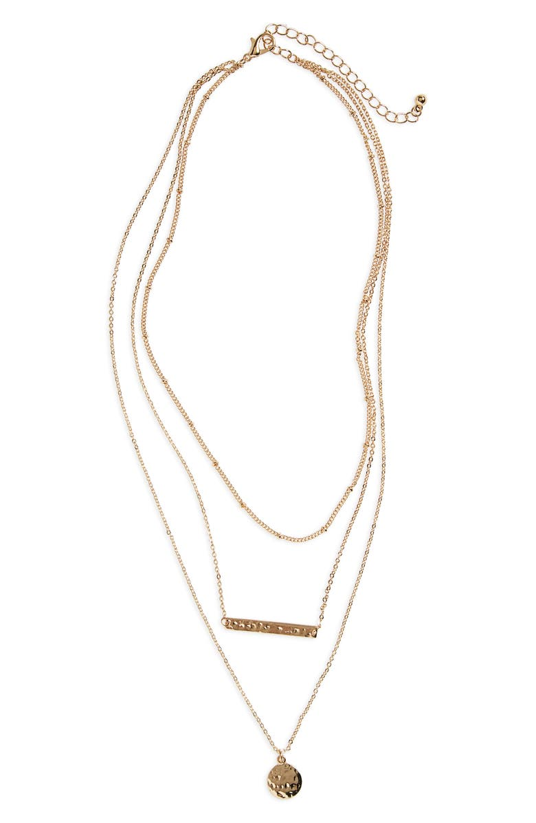 BP. Plate & Disc Layered Necklace, Main, color, 710