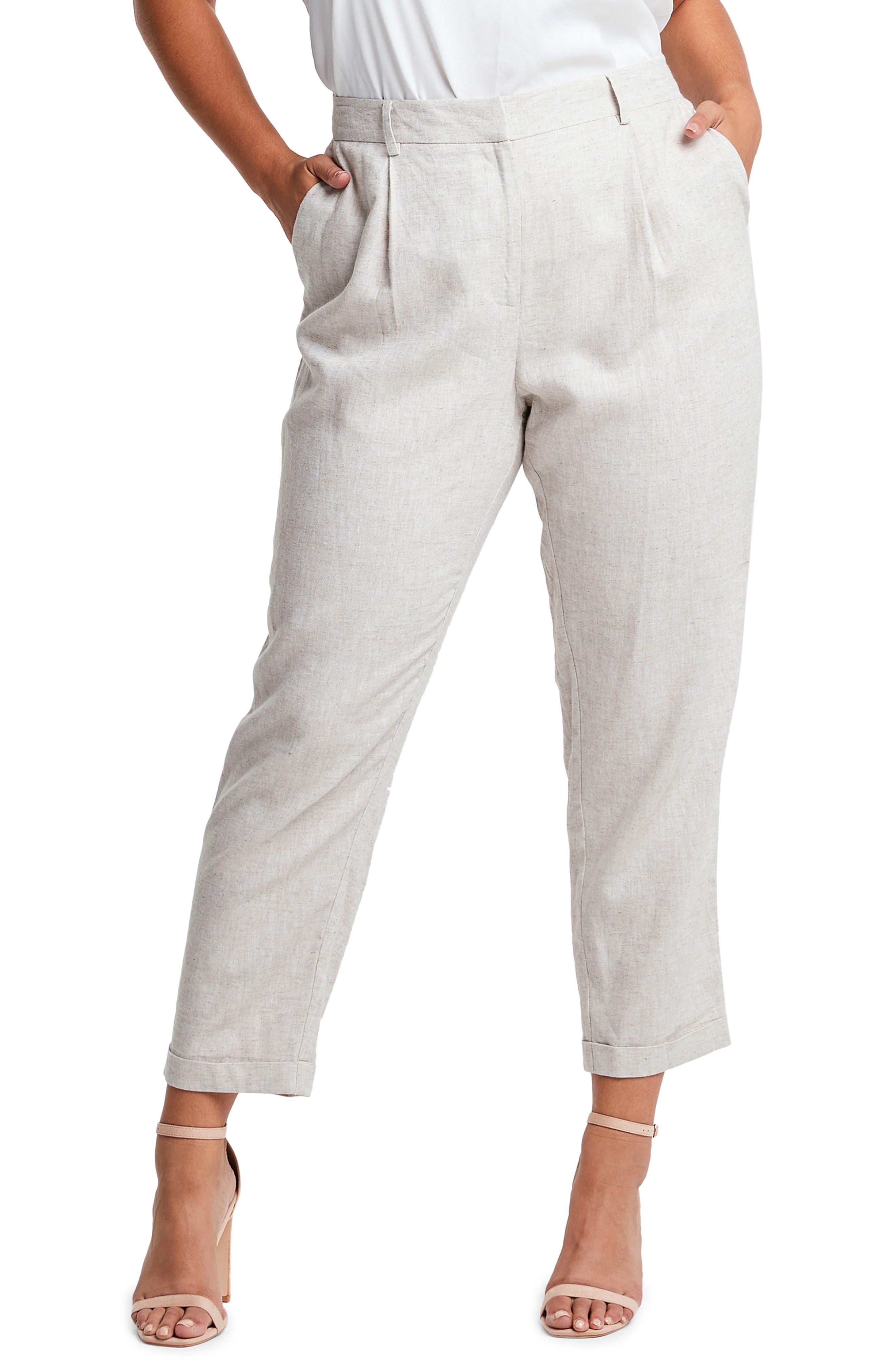 Huntington Linen Blend Crop Pants