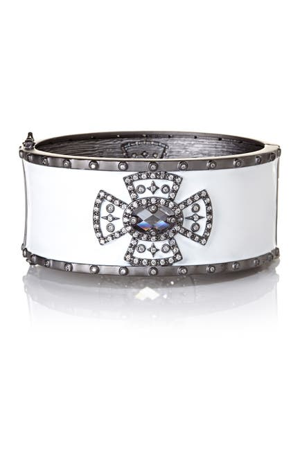 Image of Freida Rothman White Enamel Wide Maltese Cross Bangle