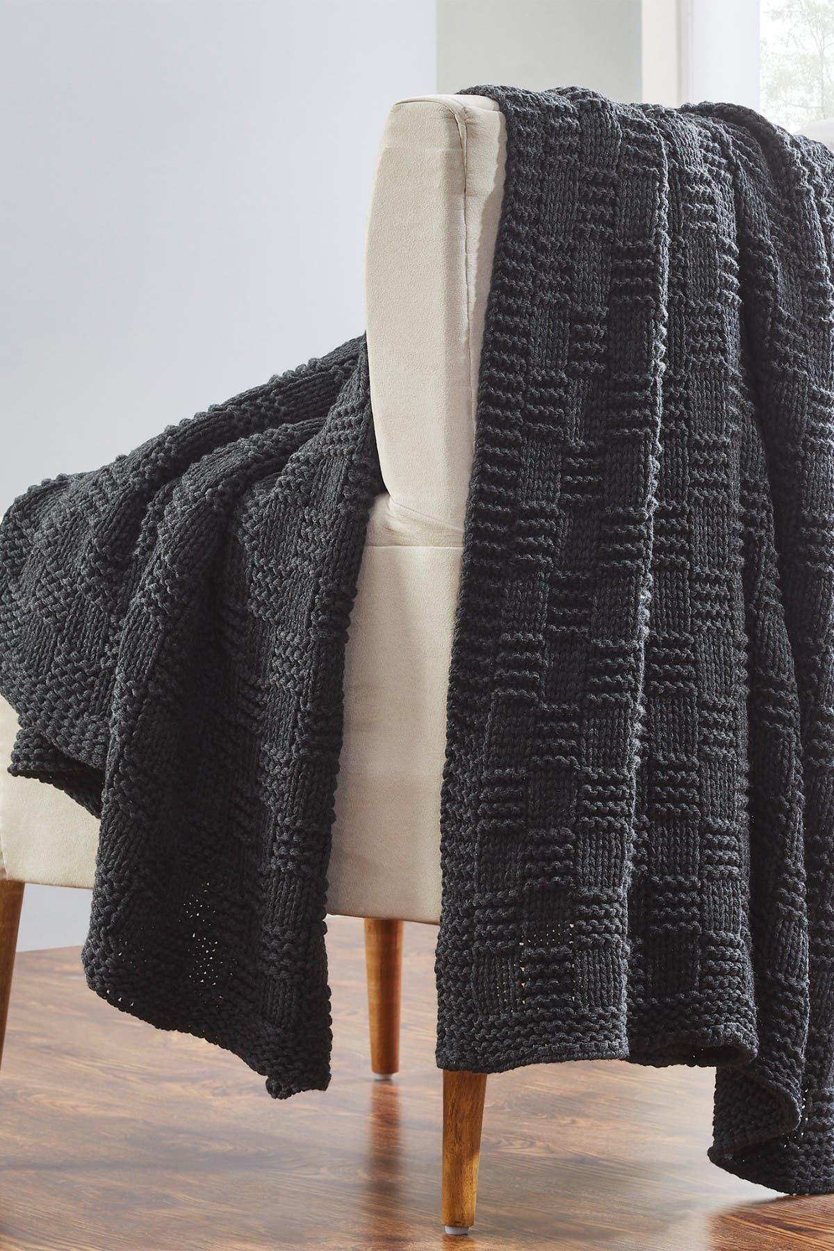 "Image of Modern Threads Acrylic Knit Throw - 50"" X 70"" - Phelon Charcoal"