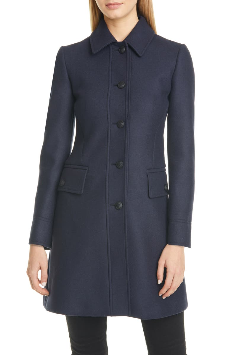 BURBERRY Angus Monogram Button Wool Blend Coat, Main, color, NAVY