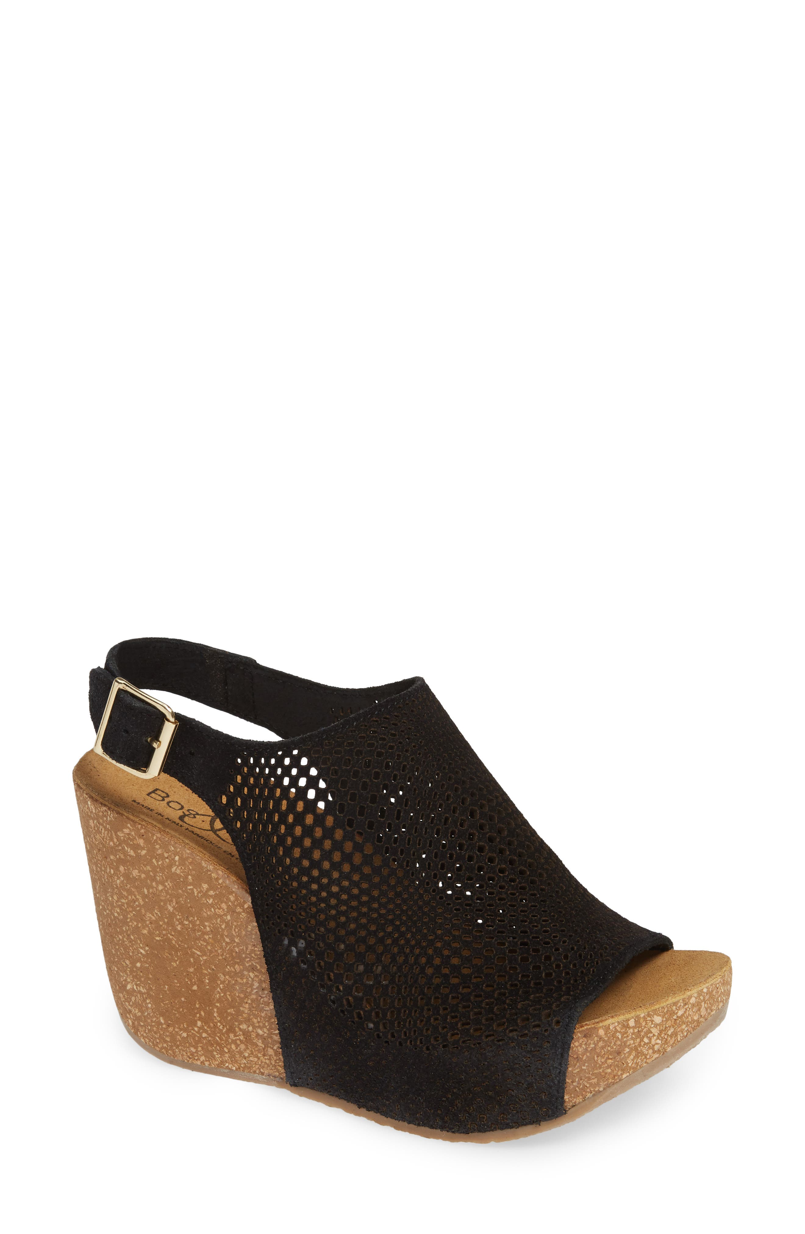 Savona Wedge Sandal, Main, color, BLACK SUEDE