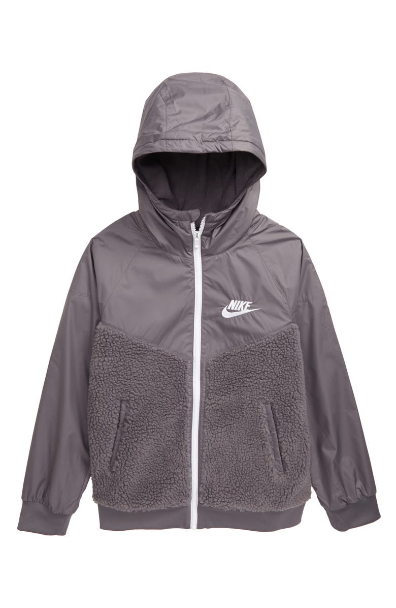 NIKE Windrunner Winterized Jacket, Main, color, GUNSMOKE/ WHITE