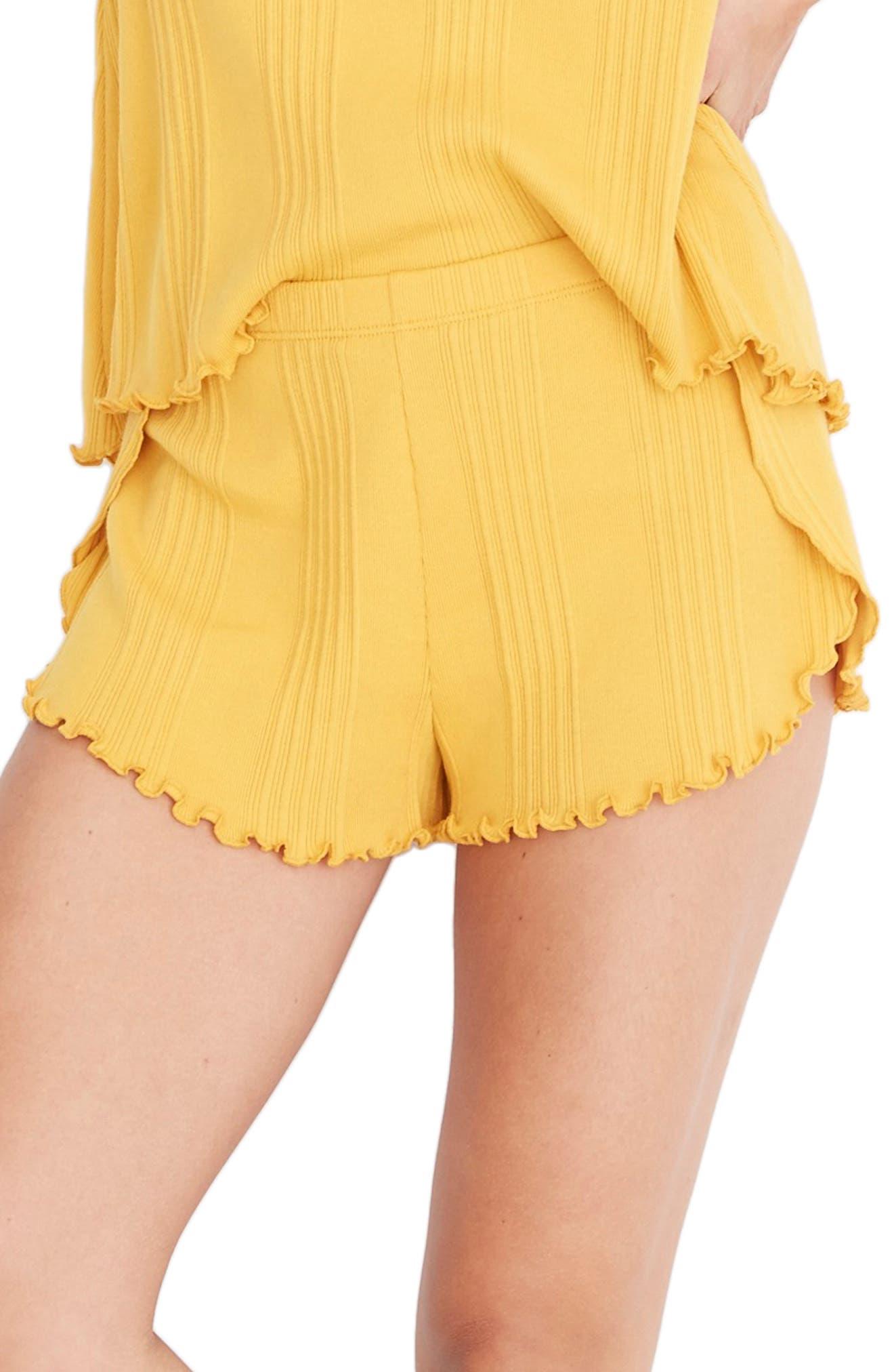 Madewell Ribbed Knit Pajama Shorts, Yellow
