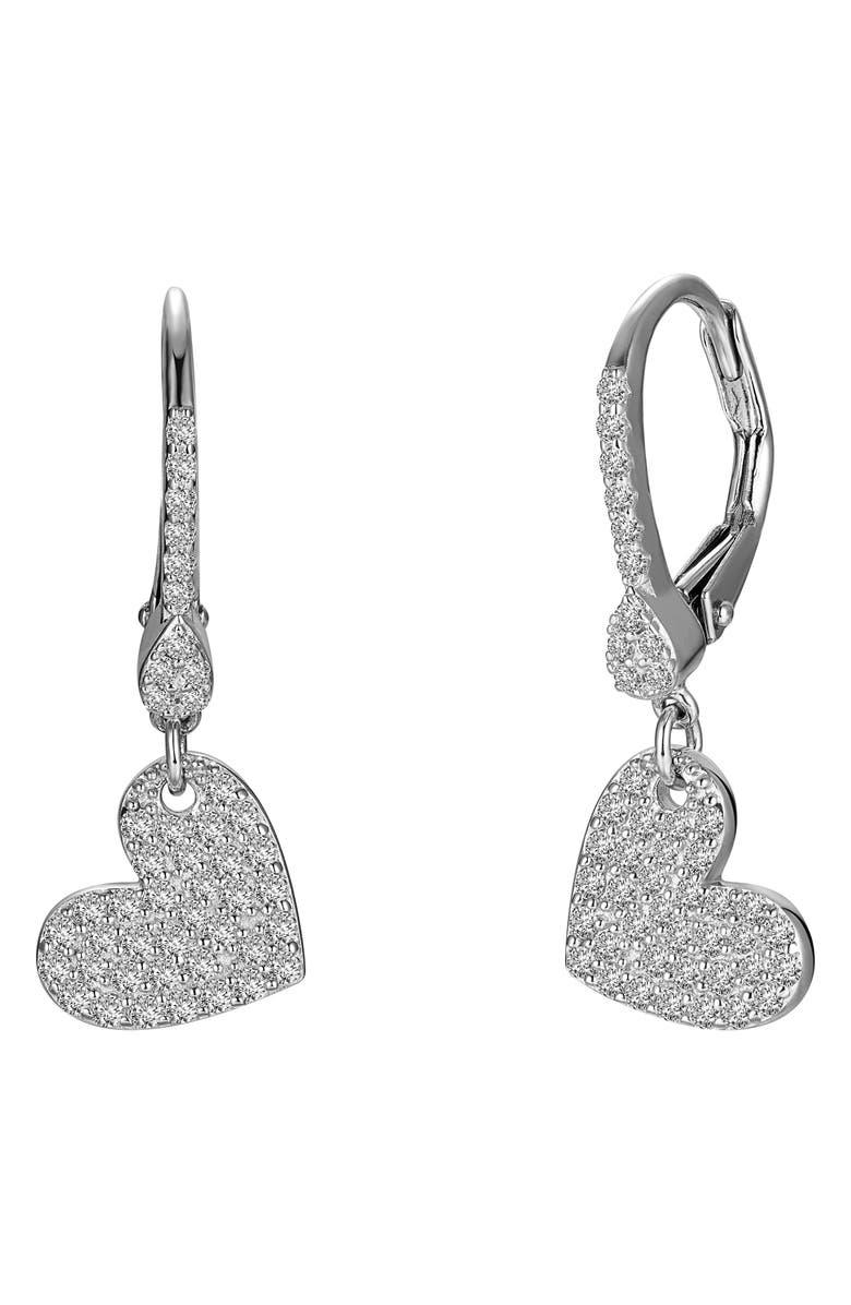 LAFONN Pavé Heart Drop Earrings, Main, color, SILVER/CLEAR