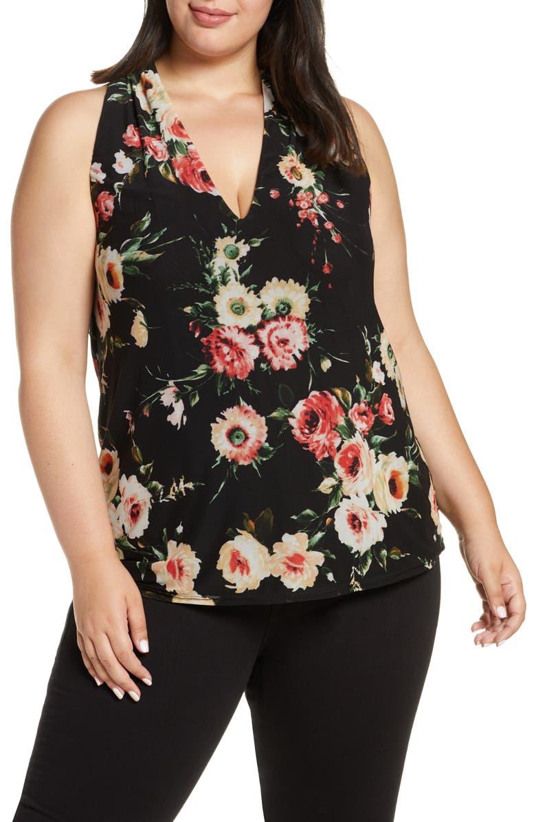 LOVEAPPELLA Floral Mesh Tank Top, Main, color, BLACK/ MARSALA