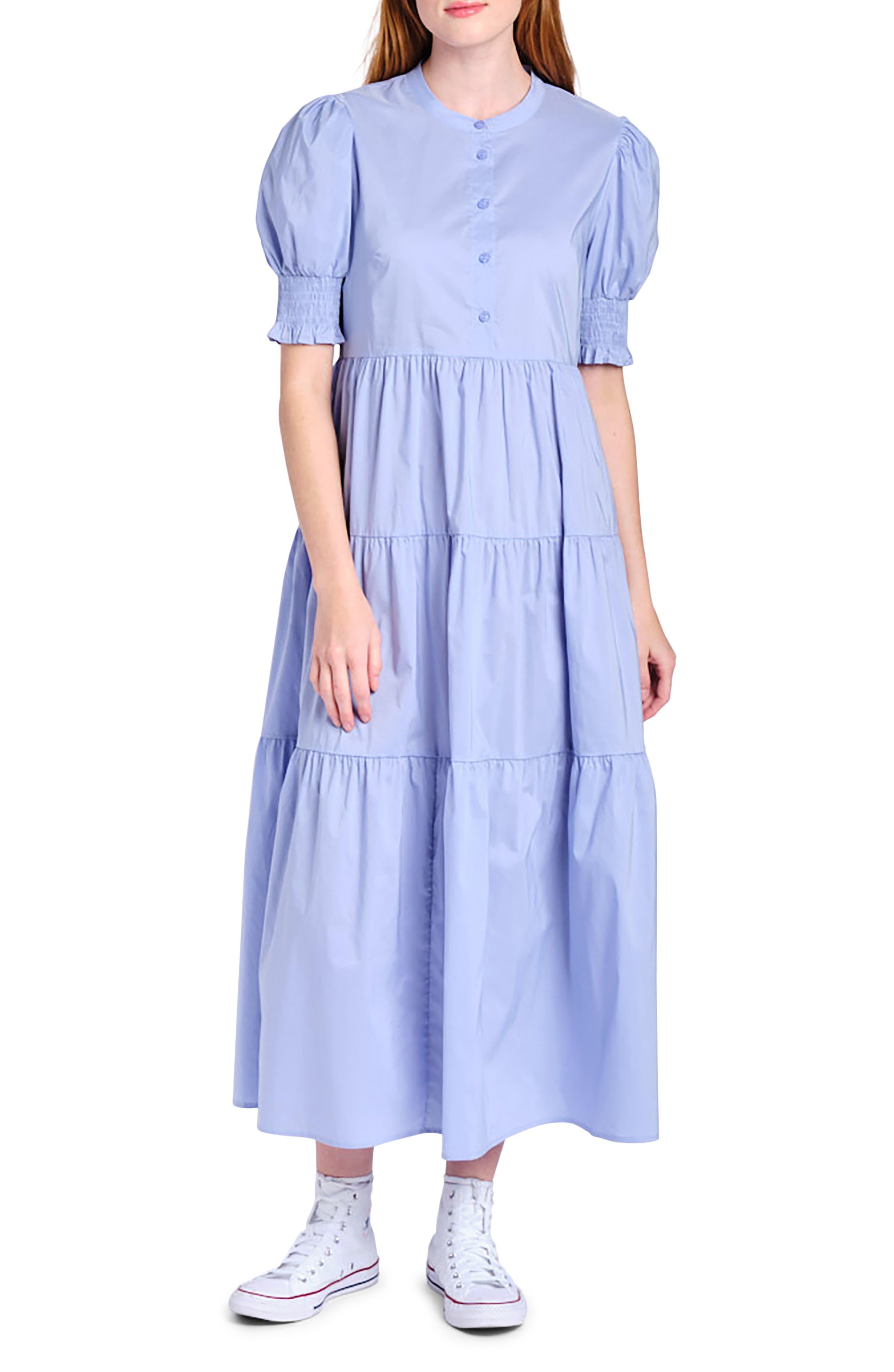Tiered Poplin Midi Dress