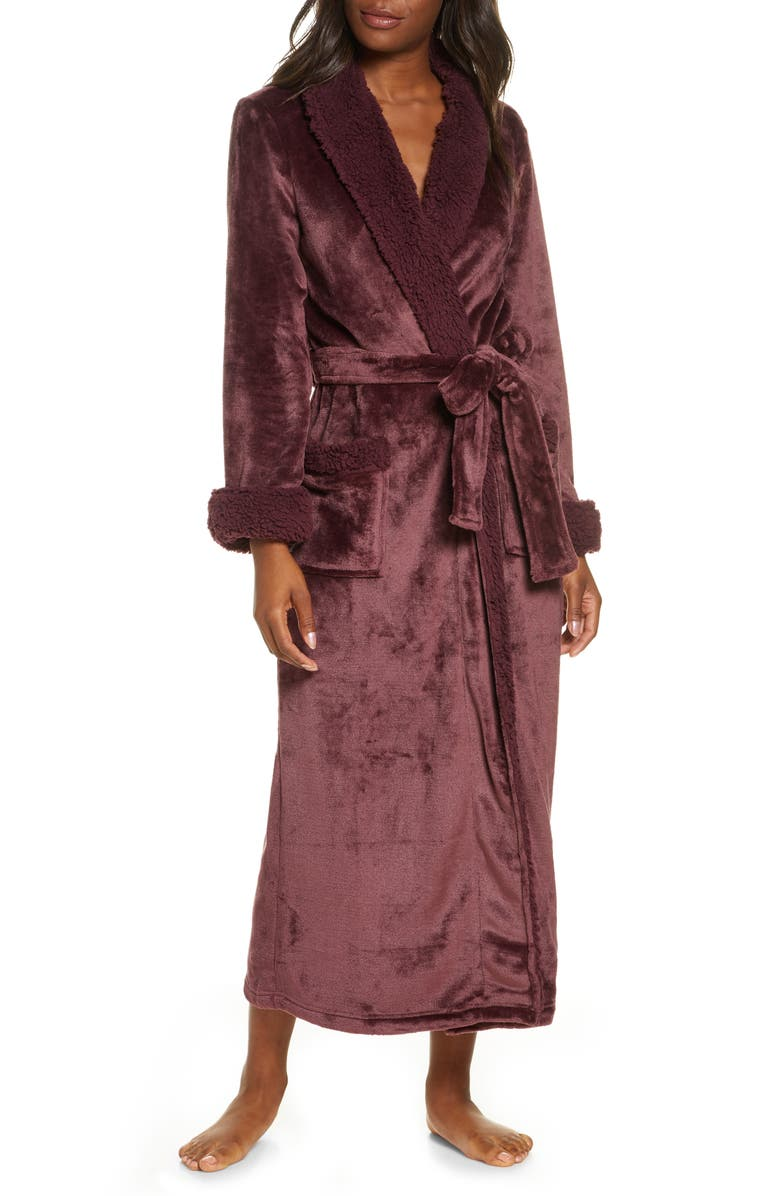NATORI Plush Robe, Main, color, NEW DEEP PLUM