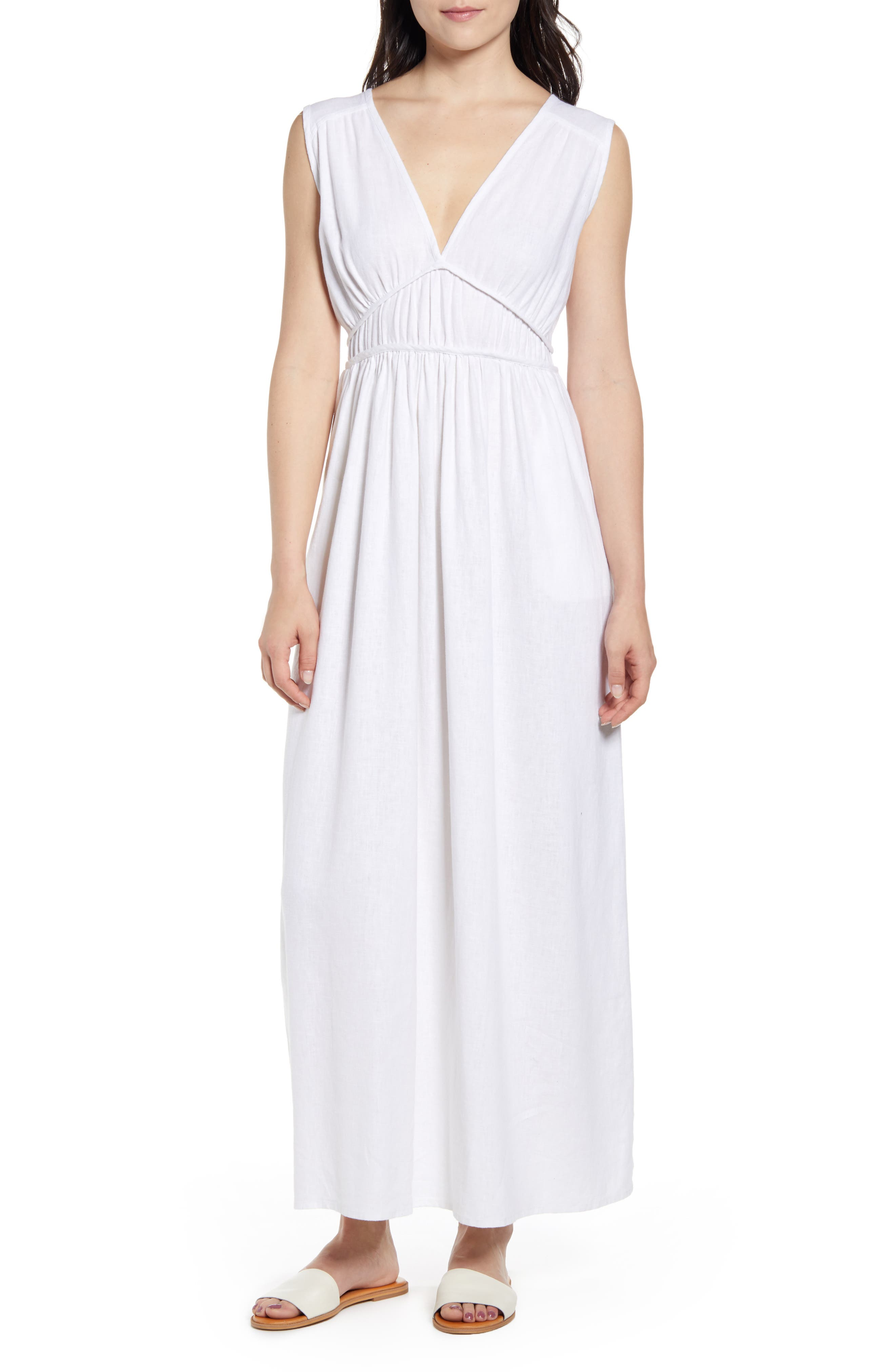 Petite Caslon Favorite Linen Blend Maxi Dress, White