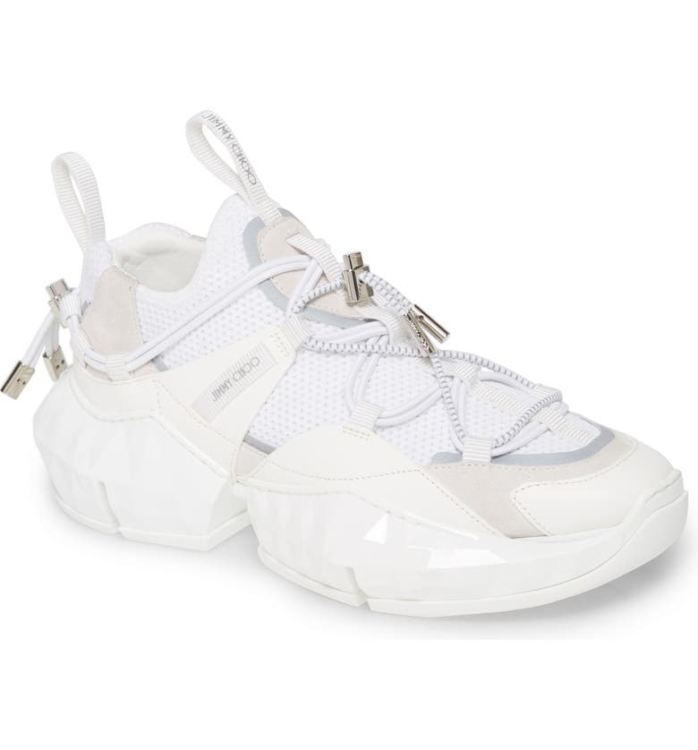 JIMMY CHOO Diamond Trail Slip-On Sneaker, Main, color, OPTICAL WHITE