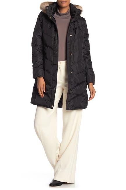 Image of MICHAEL Michael Kors Missy 3/4 Down Faux Fur Trim Jacket