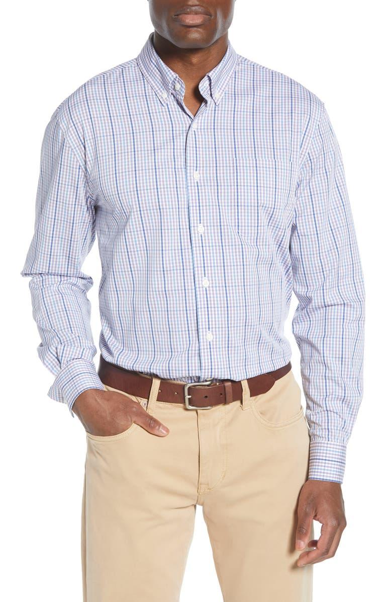 JOHNNIE-O Classic Fit Plaid Button-Up Shirt, Main, color, PASSIONFRUIT