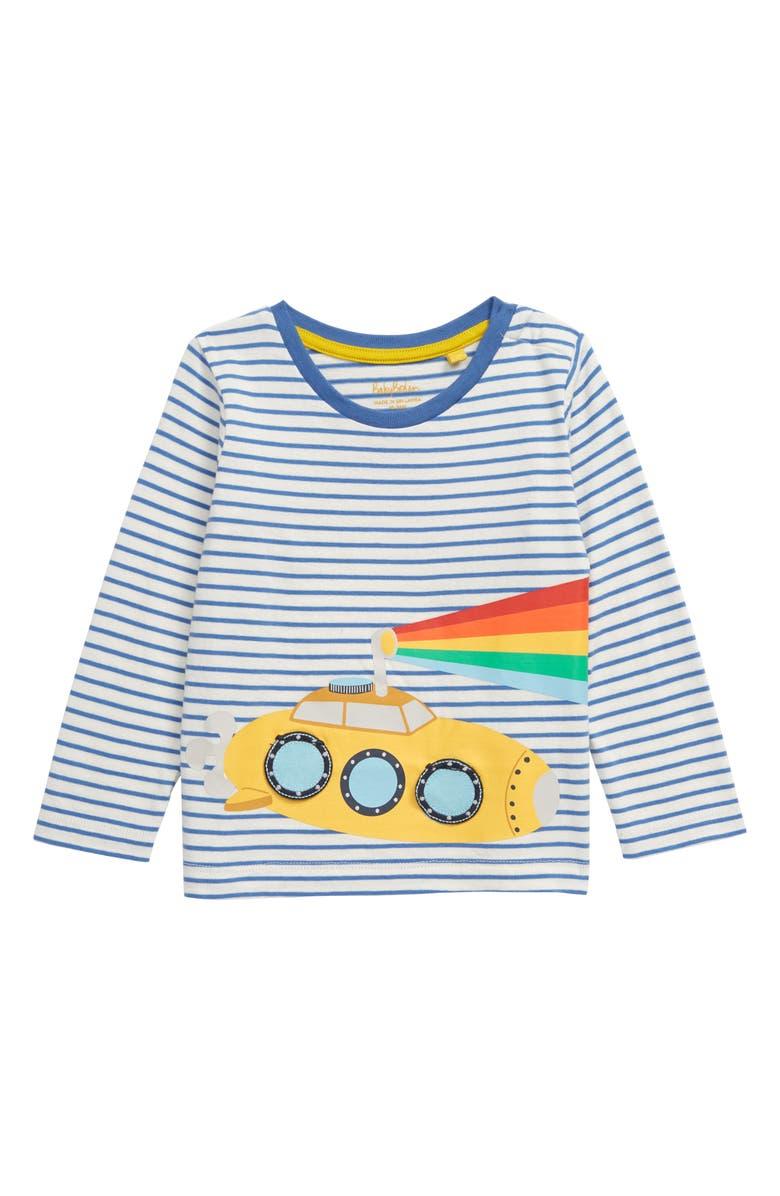 MINI BODEN Lift-Up Flap Appliqué T-Shirt, Main, color, SKY BLUE