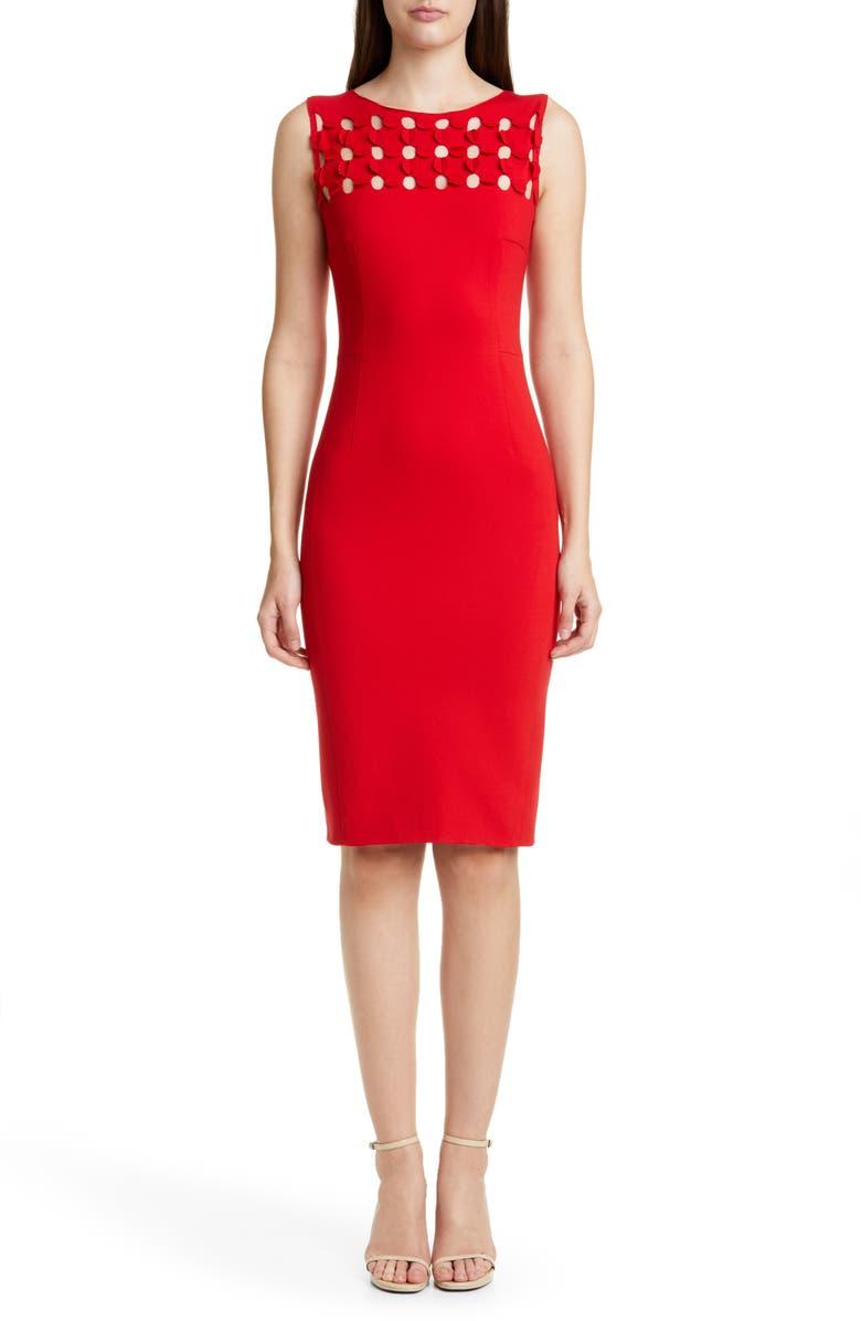 AKRIS PUNTO Dot Appliqué Ponte Sheath Dress, Main, color, 600