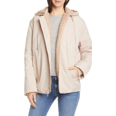 Vince Quilted Fleece Lined Hooded Jacket, White